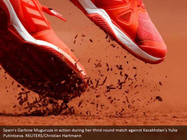 Spain's Garbine Muguruza in action during her third round match against Kazakhstan's Yulia Putintseva. REUTERS/Christian Hartmann