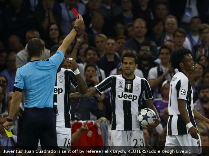 Juventus' Juan Cuadrado is sent off by referee Felix Brych. REUTERS/Eddie Keogh Livepic