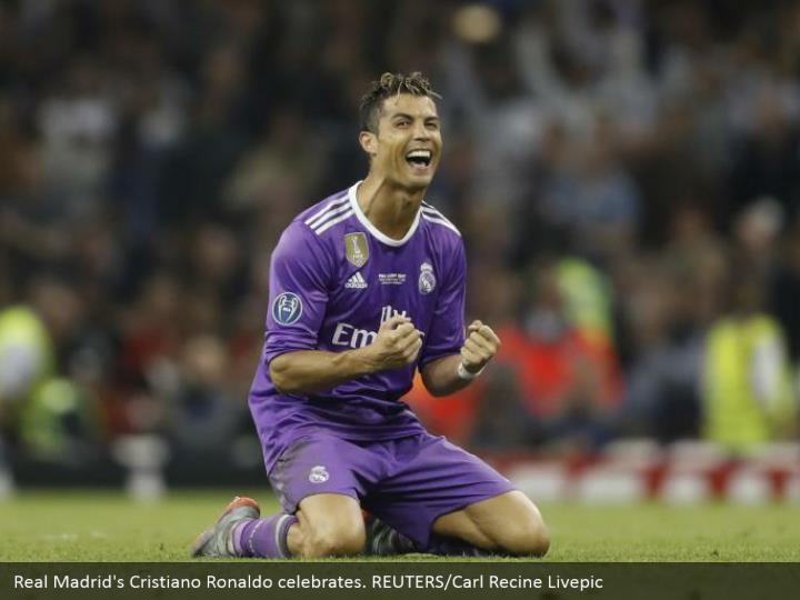 Real Madrid's Cristiano Ronaldo celebrates. REUTERS/Carl Recine Livepic