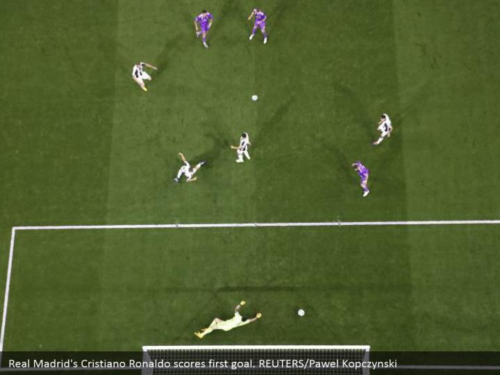 Real Madrid's Cristiano Ronaldo scores first goal. REUTERS/Pawel Kopczynski