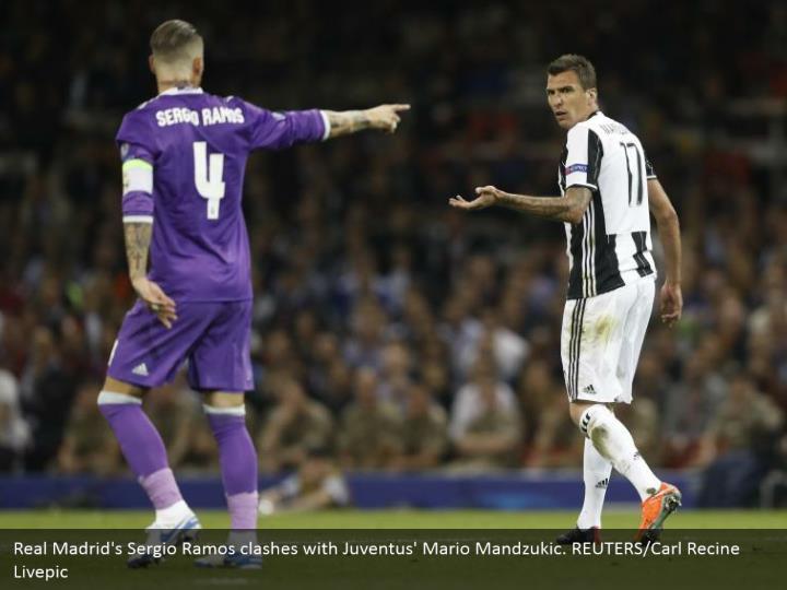 Real Madrid's Sergio Ramos clashes with Juventus' Mario Mandzukic. REUTERS/Carl Recine Livepic