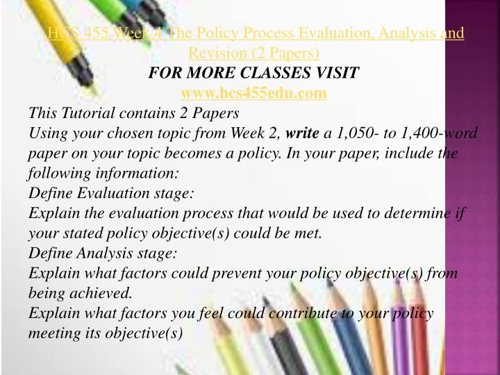 the policy process evaluation analysis and revision essay