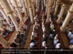 muslims pray after offering the first friday