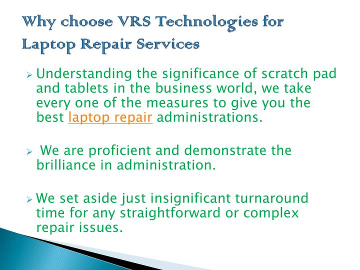 Why choose VRS Technologies for Laptop Repair Services
