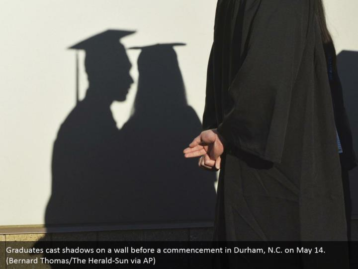 Graduates cast shadows on a wall before a commencement in Durham, N.C. on May 14. (Bernard Thomas/The Herald-Sun via AP)
