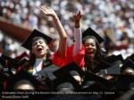graduates cheer during the boston university