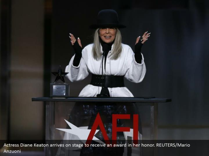 Actress Diane Keaton arrives on stage to receive an award in her honor. REUTERS/Mario Anzuoni