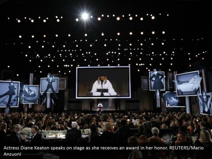 Actress Diane Keaton speaks on stage as she receives an award in her honor. REUTERS/Mario Anzuoni