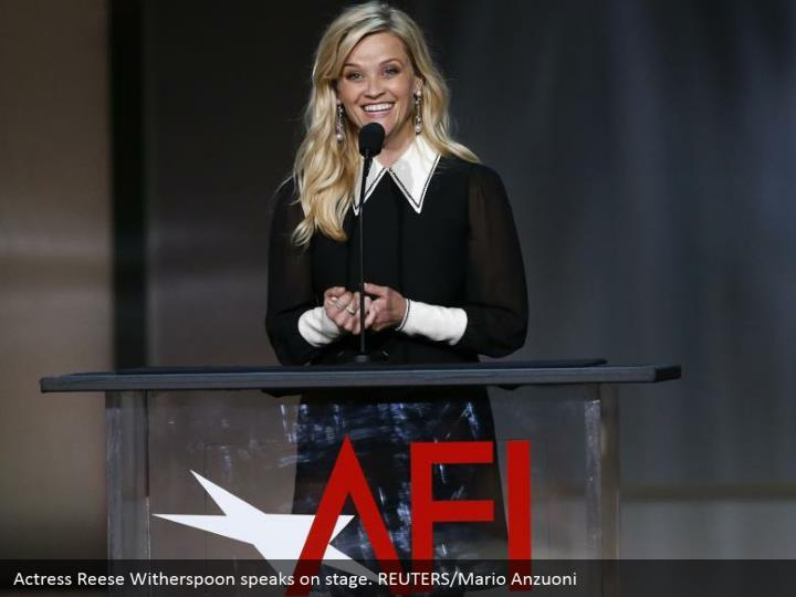 Actress Reese Witherspoon speaks on stage. REUTERS/Mario Anzuoni