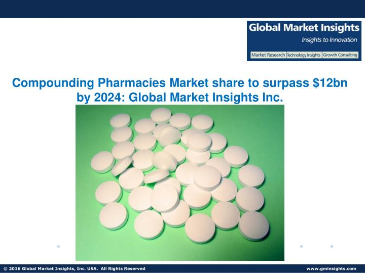 Compounding Pharmacies Market share to surpass $12bn by 2024: Global Market Insights Inc.