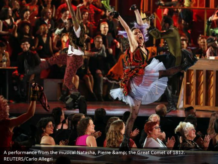 A performance from the musical Natasha, Pierre & the Great Comet of 1812.  REUTERS/Carlo Allegri