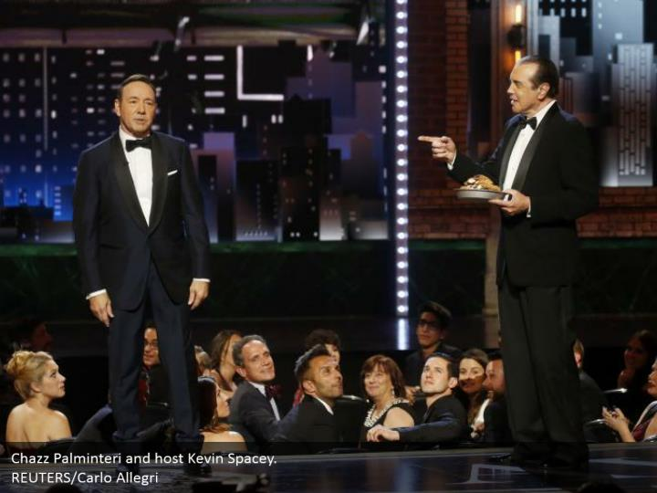 Chazz Palminteri and host Kevin Spacey.  REUTERS/Carlo Allegri