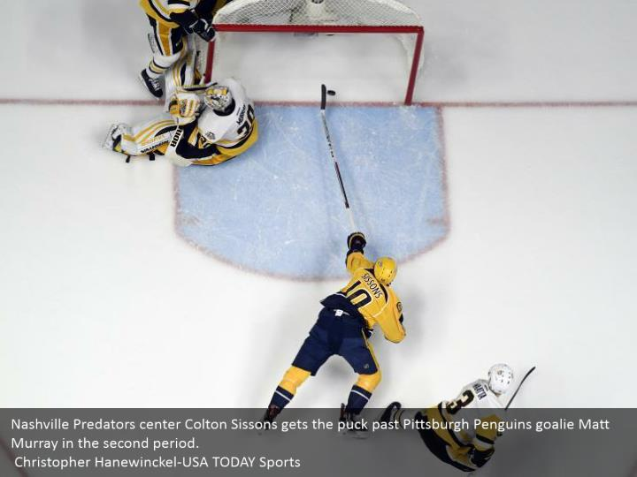 Nashville Predators center Colton Sissons gets the puck past Pittsburgh Penguins goalie Matt Murray in the second period.  Christopher Hanewinckel-USA TODAY Sports