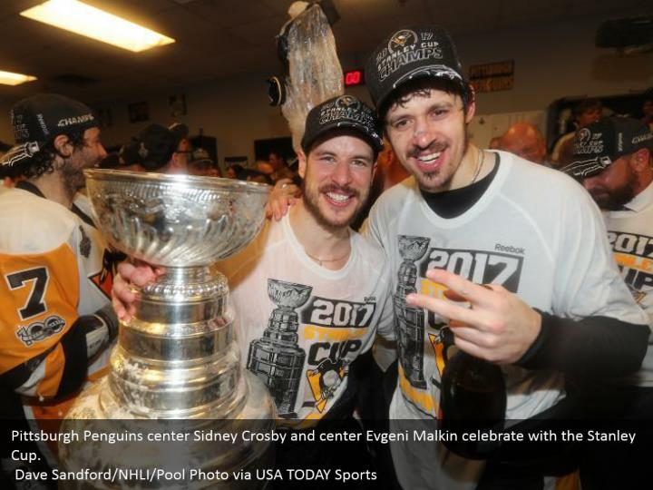 Pittsburgh Penguins center Sidney Crosby and center Evgeni Malkin celebrate with the Stanley Cup.  Dave Sandford/NHLI/Pool Photo via USA TODAY Sports