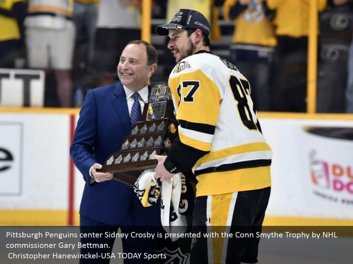 Pittsburgh Penguins center Sidney Crosby is presented with the Conn Smythe Trophy by NHL commissioner Gary Bettman.  Christopher Hanewinckel-USA TODAY Sports