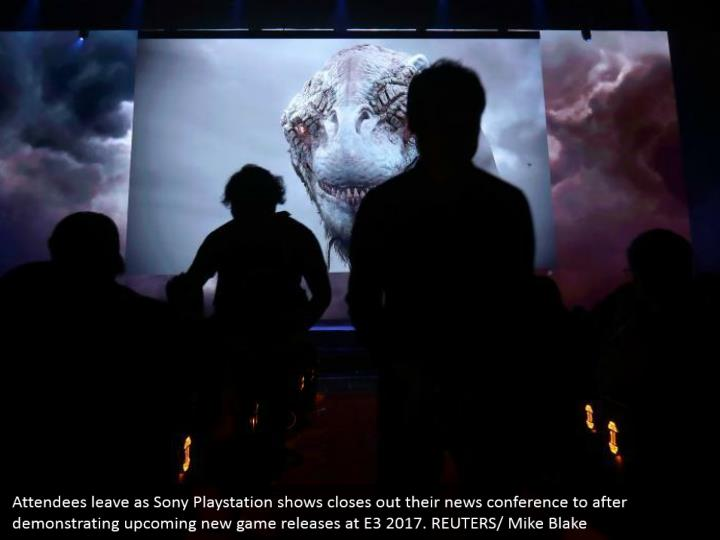 Attendees leave as Sony Playstation shows closes out their news conference to after demonstrating upcoming new game releases at E3 2017. REUTERS/ Mike Blake