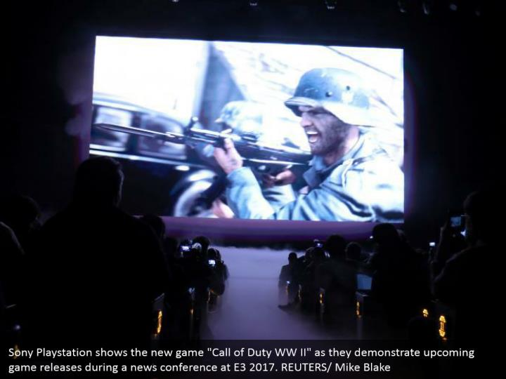 "Sony Playstation shows the new game ""Call of Duty WW II"" as they demonstrate upcoming game releases during a news conference at E3 2017. REUTERS/ Mike Blake"