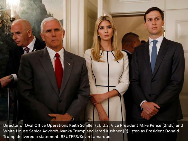 Director of Oval Office Operations Keith Schiller (L), U.S. Vice President Mike Pence (2ndL) and White House Senior Advisors Ivanka Trump and Jared Kushner (R) listen as President Donald Trump delivered a statement. REUTERS/Kevin Lamarque