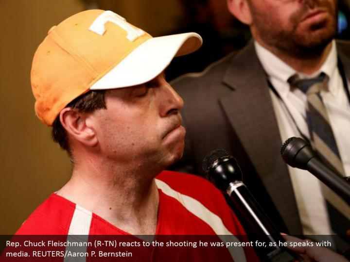 Rep. Chuck Fleischmann (R-TN) reacts to the shooting he was present for, as he speaks with media. REUTERS/Aaron P. Bernstein