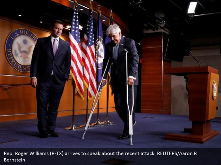 Rep. Roger Williams (R-TX) arrives to speak about the recent attack. REUTERS/Aaron P. Bernstein
