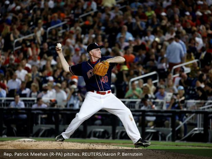 Rep. Patrick Meehan (R-PA) pitches. REUTERS/Aaron P. Bernstein