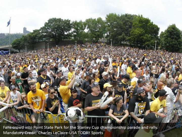 Fans crowd into Point State Park for the Stanley Cup championship parade and rally. Mandatory Credit: Charles LeClaire-USA TODAY Sports