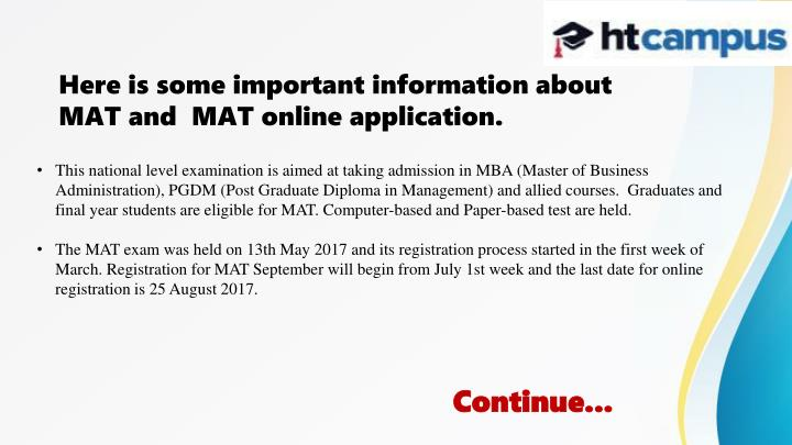 Ppt Know About Mat 2017 Online Application Powerpoint