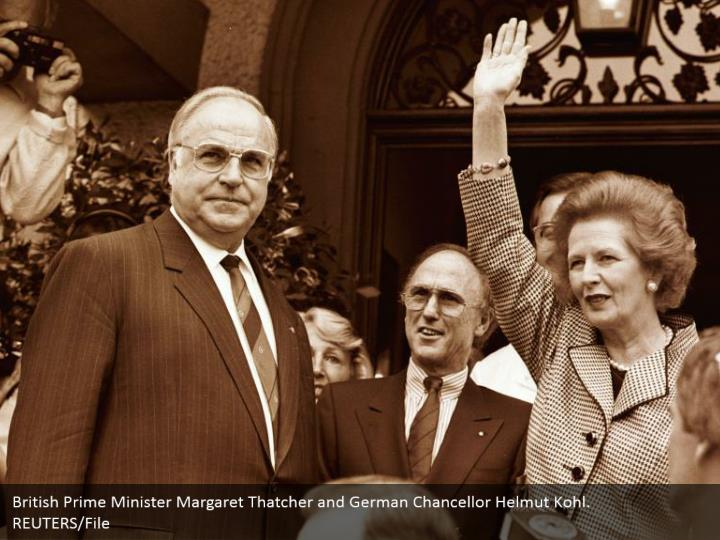 British Prime Minister Margaret Thatcher and German Chancellor Helmut Kohl.   REUTERS/File