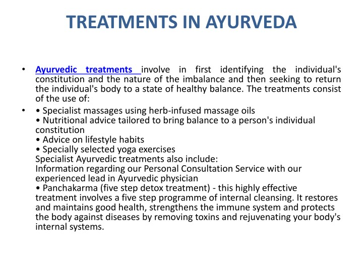 TREATMENTS IN AYURVEDA