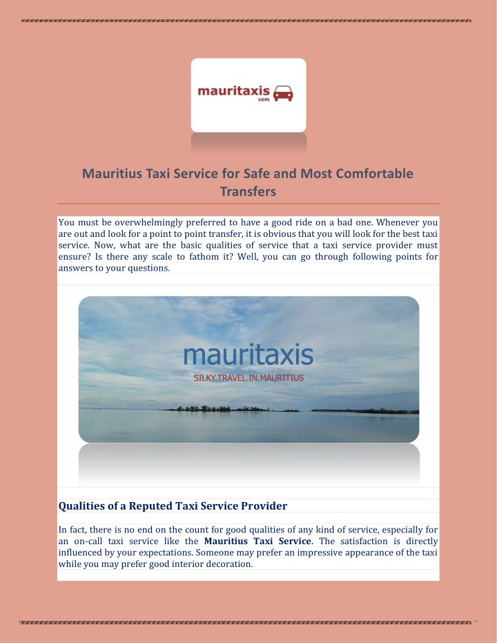 Mauritius Taxi Service for Safe and Most Comfortable