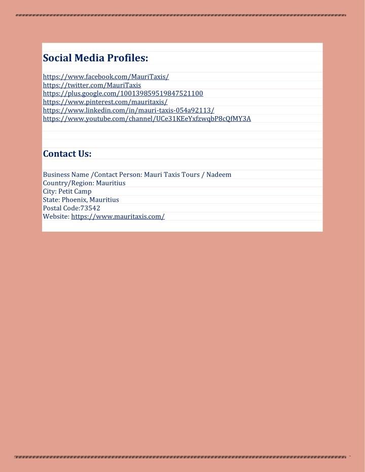 Social Media Profiles: