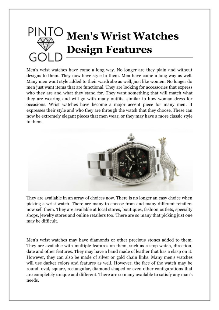 Men s wrist watches design features