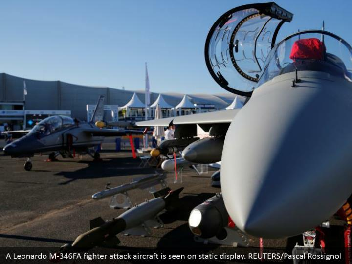 A Leonardo M-346FA fighter attack aircraft is seen on static display. REUTERS/Pascal Rossignol
