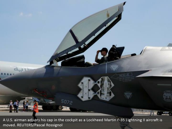 A U.S. airman adjusts his cap in the cockpit as a Lockheed Martin F-35 Lightning II aircraft is moved. REUTERS/Pascal Rossignol