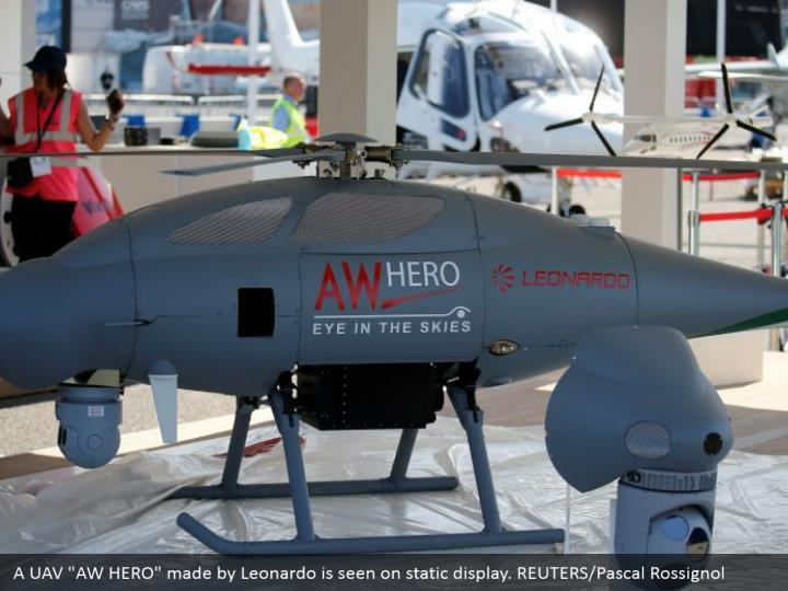"""A UAV """"AW HERO"""" made by Leonardo is seen on static display. REUTERS/Pascal Rossignol"""