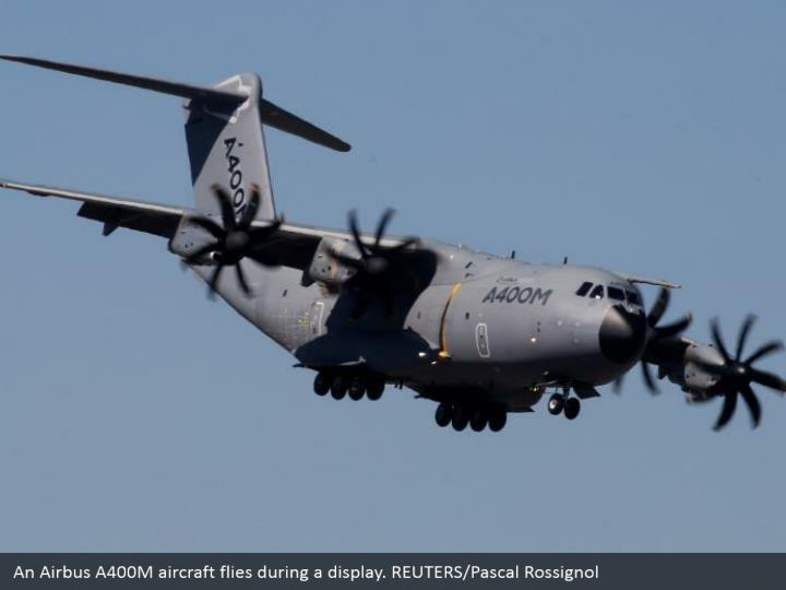 An Airbus A400M aircraft flies during a display. REUTERS/Pascal Rossignol