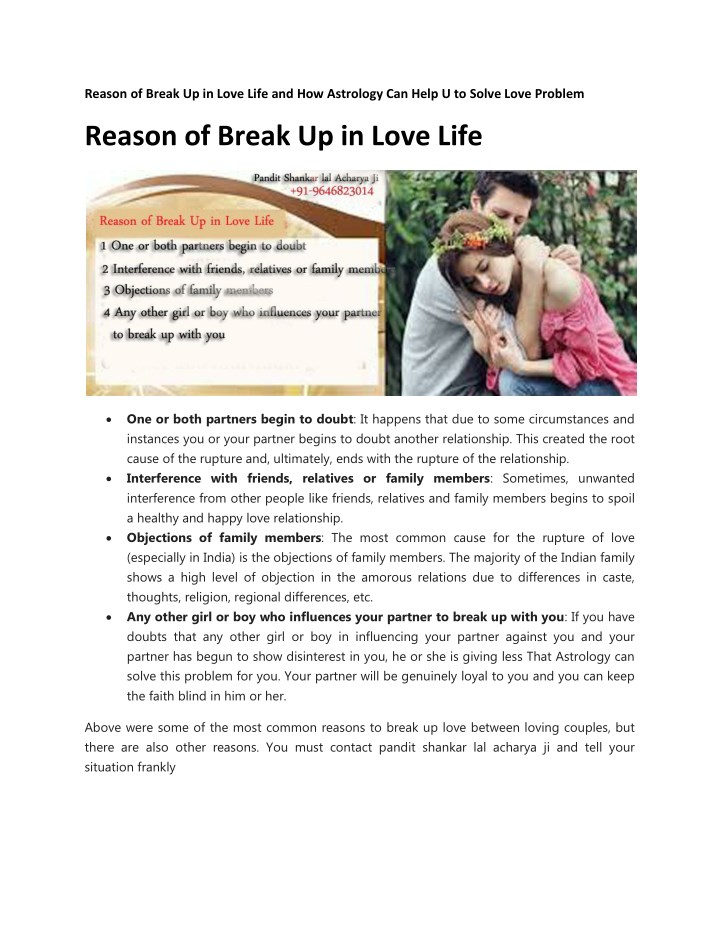 Reason of break up in love life and how astrology