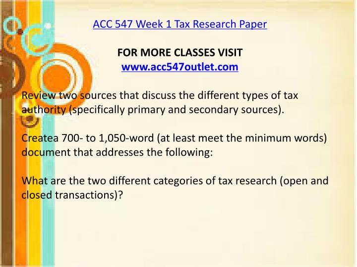 tax research paper