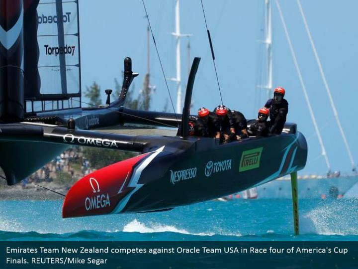 Emirates Team New Zealand competes against Oracle Team USA in Race four of America's Cup Finals. REUTERS/Mike Segar