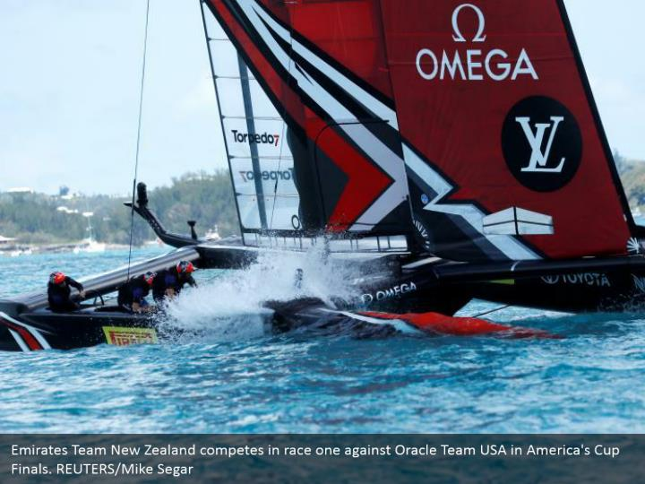 Emirates Team New Zealand competes in race one against Oracle Team USA in America's Cup Finals. REUTERS/Mike Segar