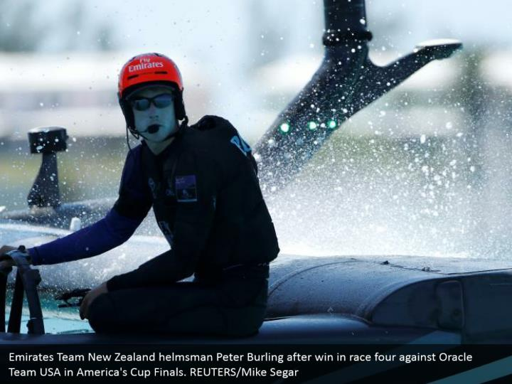 Emirates Team New Zealand helmsman Peter Burling after win in race four against Oracle Team USA in America's Cup Finals. REUTERS/Mike Segar