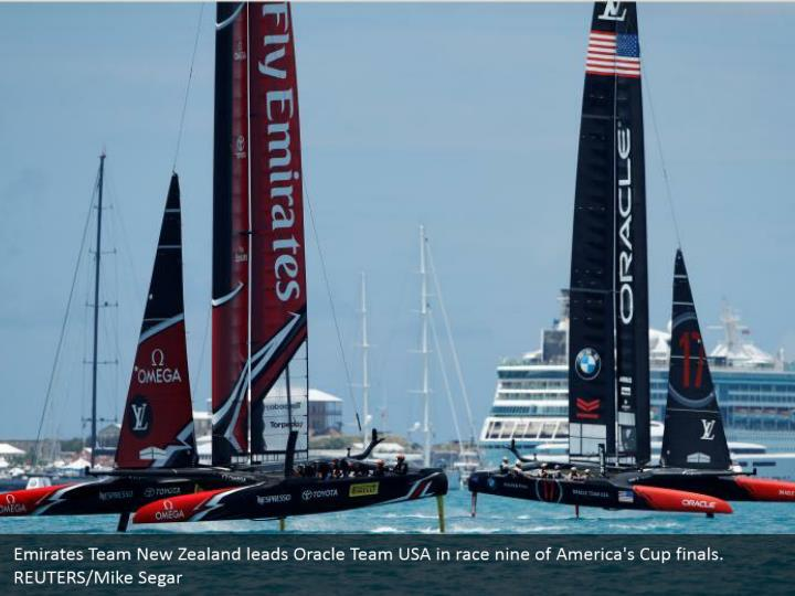 Emirates Team New Zealand leads Oracle Team USA in race nine of America's Cup finals. REUTERS/Mike Segar