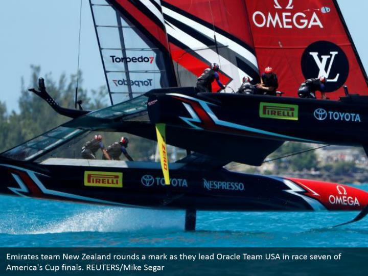 Emirates team New Zealand rounds a mark as they lead Oracle Team USA in race seven of America's Cup finals. REUTERS/Mike Segar
