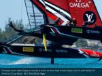 emirates team new zealand rounds a mark as they