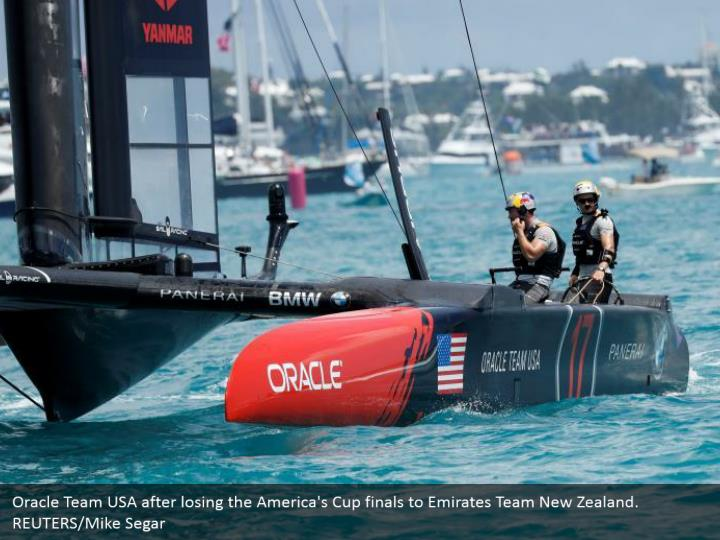 Oracle Team USA after losing the America's Cup finals to Emirates Team New Zealand. REUTERS/Mike Segar
