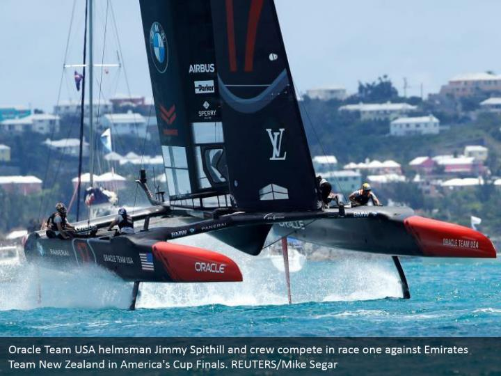 Oracle Team USA helmsman Jimmy Spithill and crew compete in race one against Emirates Team New Zealand in America's Cup Finals. REUTERS/Mike Segar
