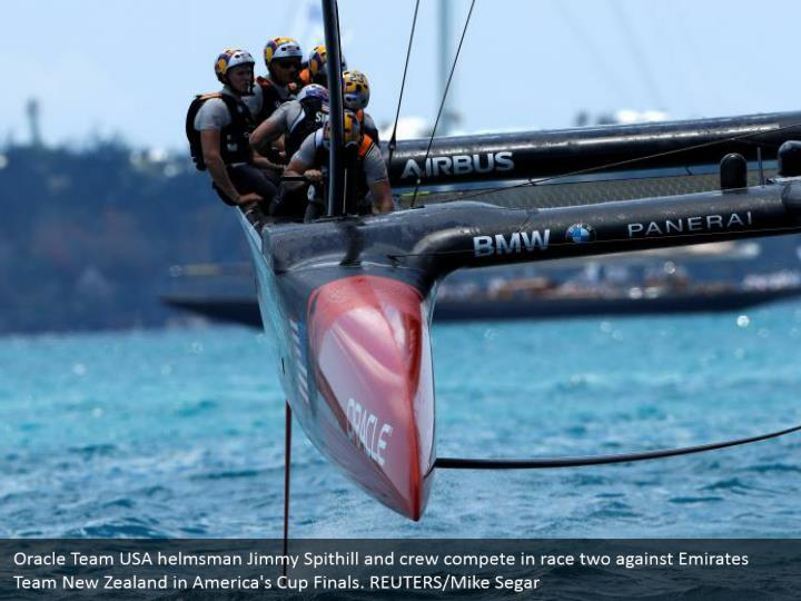 Oracle Team USA helmsman Jimmy Spithill and crew compete in race two against Emirates Team New Zealand in America's Cup Finals. REUTERS/Mike Segar
