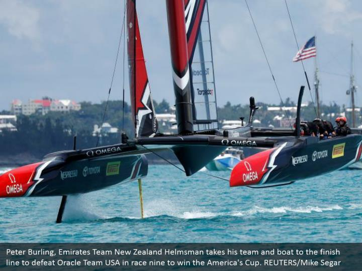 Peter Burling, Emirates Team New Zealand Helmsman takes his team and boat to the finish line to defeat Oracle Team USA in race nine to win the America's Cup. REUTERS/Mike Segar