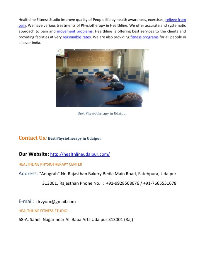 Healthline Fitness Studio improve quality of People life by health awareness, exercises, relieve from