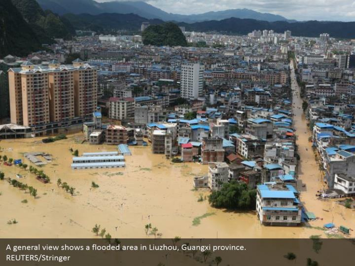 A general view shows a flooded area in Liuzhou, Guangxi province.  REUTERS/Stringer